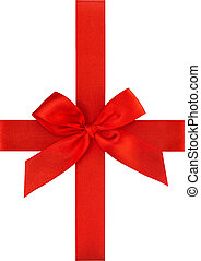 Red ribbon bow isolated on white Holidays gift wrapping