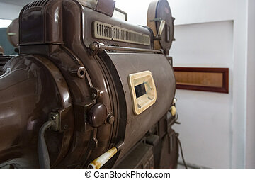Old movie projector from behind