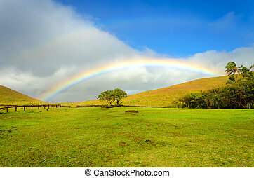 Easter Island Rainbow - Beautiful rainbow landscape on...
