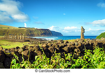 Easter Island Moai View - Stunning view of Moai and Pacific...