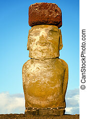 Moai with Pukao - Vertical view of a Moai with a pukao on...