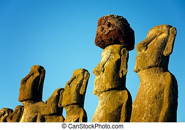 Moai Closeup View - Closeup view of Moai at Ahu Tongariki on...