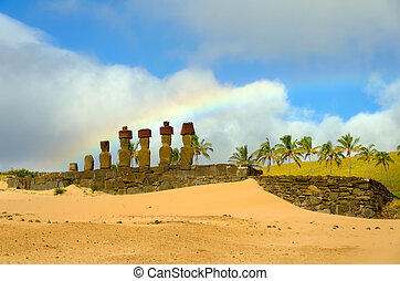 Moai, Sand, and Rainbow - Rainbow over Moai at Anakena Beach...
