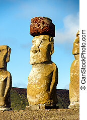 Moai with Pukao - Moai closeup on Easter Island, Chile. The...