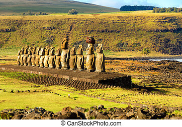 Row of Moai statues at Ahu Tongariki on Easter Island in...