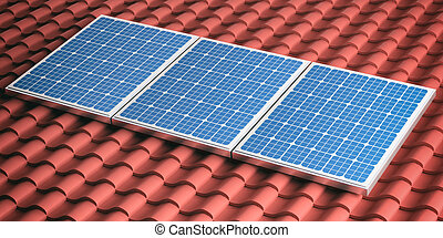 3d rendering red roof with solar panels - 3d rendering red...
