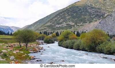 Mountain river Chon-Ak-Suu. Grigoriev Gorge. Issyk Kul Lake....