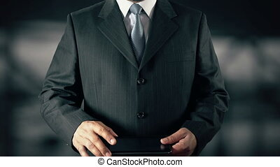 Businessman with Social Media Concept Businessman using digital tablet technology background