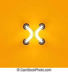 Neon light letter digit multiplication sum sing mark. Neon...