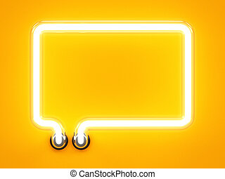 Neon light speech bubble message mark sign - Neon light...