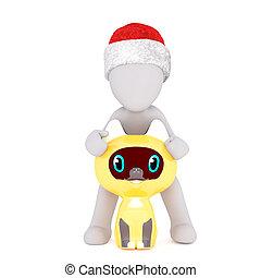3d man holding a cute yellow owl mascot - 3d man wearing a...