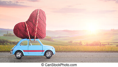 Retro toy car with Valentine heart - Blue retro toy car...