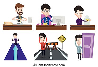 Vector set of business characters. - Tired employee yawning...
