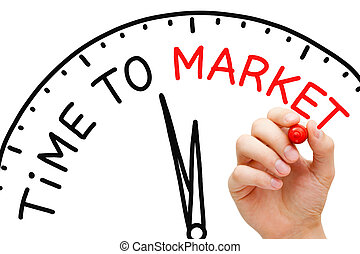 Time To Market - Hand writing Time to Market clock concept...