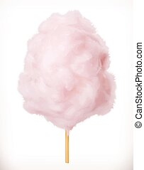 Cotton candy. Sugar clouds. 3d vector icon. Realistic...