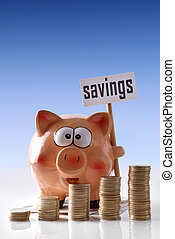 Piggy bank with savings billboard and coins blue background vertical