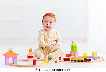2UTE, 玩具, 姜, 嬰孩, 家, 鐵路, 玩, 路