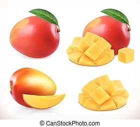Mango. Whole and pieces. Sweet fruit. 3d vector icons set....