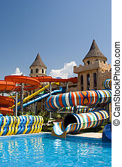 Aqua park in the open air. Summer, sunny day.