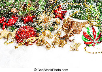 Christmas decorations in red, green, gold alling snow effect...