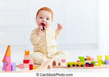 2UTE, 玩具, 貨車, 品嘗, 姜, 嬰孩, 鐵路, 家, 玩, 路