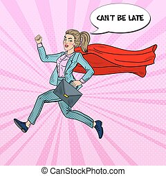 Pop Art Super Business Woman with Red Cape Running with Briefcase
