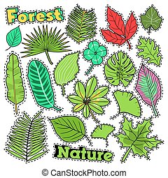Nature Plants and Leaves Scrapbook Stickers, Patches, Badges for Prints