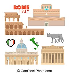 Rome Italy Travel Doodle with Rome Architecture, Capitoline Wolf and Flag