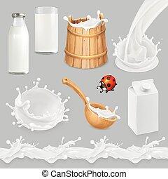 Milk. Bottle, glass, spoon, bucket. Drops seamless pattern....