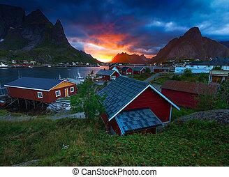 The Fishing Village of Reine in Lofoten, Norway - Reine is a...