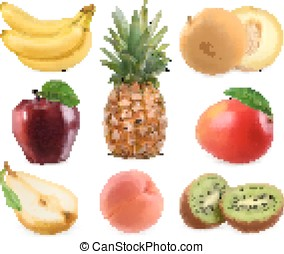 Sweet fruits. Banana, pineapple, apple, melon, mango, kiwi...