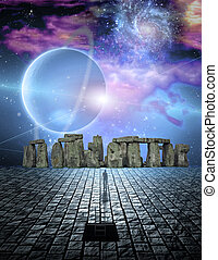 Man before stone structure - Stone structure in sci fi ike...