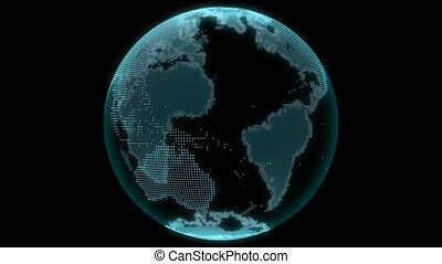 Virtual world - Electronic globe with dedicated continents.