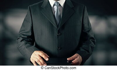 Businessman with Brand Loyalty concept choose from Usage Users Markets Commitment Brands using digital tablet