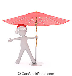 Happy festive 3d man under a beach umbrella