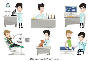 Vector set of doctor characters and patients. - Laboratory...
