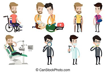 Vector set of doctor characters and patients. - An injured...
