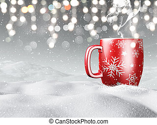 3D mug nestled in snow - 3D render of a mug of hot drink...