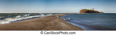 Panoramic view of Point Pelee National Park beach on Lake...