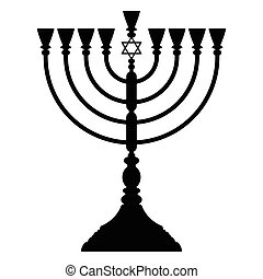 Hanukkah menorah vector - Menorah Hanukkah lamp which is lit...