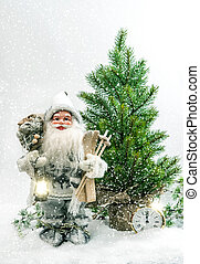 Santa Claus Christmas tree Gifts snow Winter holidays...