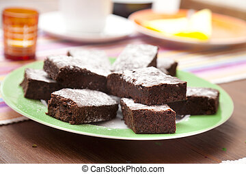 Brownies covered with icing sugar