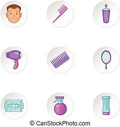 Hair cut icons set, cartoon style