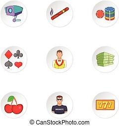 Gambling icons set, cartoon style - Gambling icons set....