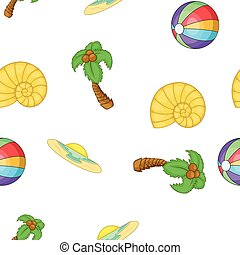 Summer holiday pattern, cartoon style