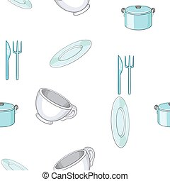 Tableware pattern, cartoon style - Tableware pattern....