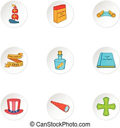 Search of mainland icons set, cartoon style - Search of...