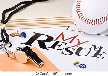Baseball resume - A silver whistle next to a baseball and a...