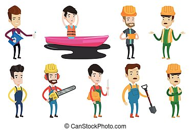 Vector set of characters on ecology issues. - Man with...