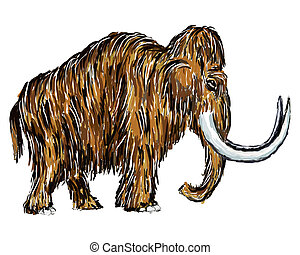 mammoth - painted mammoth on white background